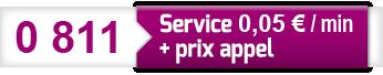 0811 Service 0.05€/min + prix appel